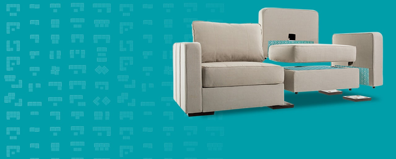 An exploded view of a Lovesac couch