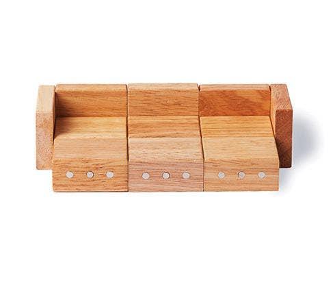 Sofa set made with mini wood blocks.