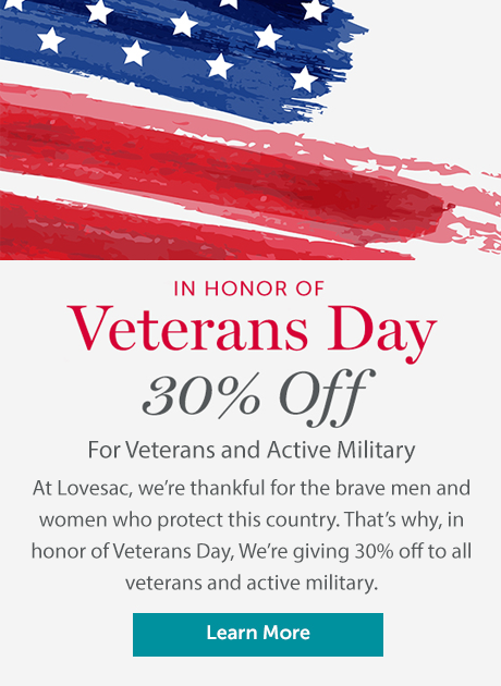 Flag graphic with text for 30% off Veteran's Day offer click to learn more