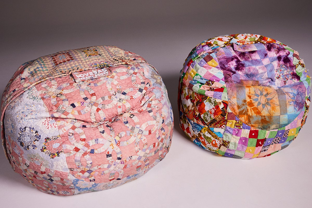 Two limited edition Lovesac X Jeremy Scott SuperSacs.