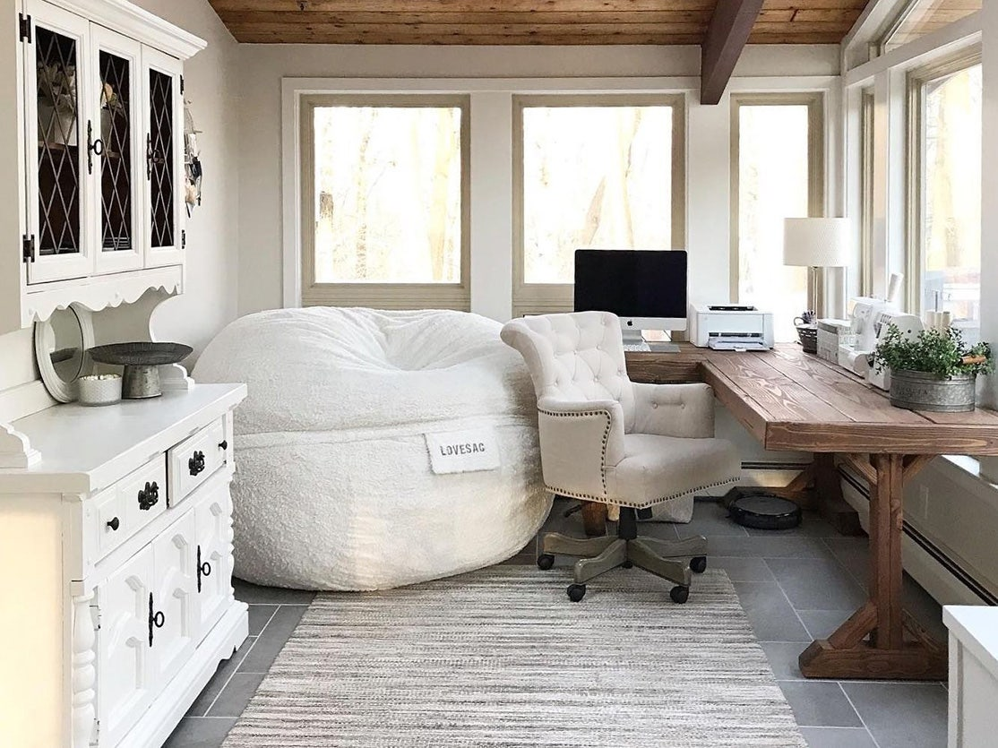 A home office with a SuperSac in the corner